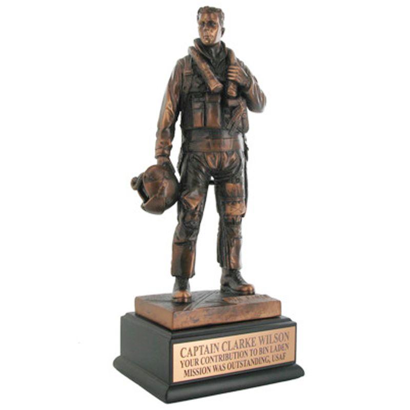 Antique Bronze Air Force Fighter Pilot Statue